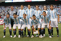 Argentina's starting 11 before the start of an international friendly between the USA and Argentina at Giants Stadium in East Rutherford, N.J. on Sunday, June 6, 2008. The game ended tied at zero.