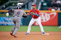 Buffalo Bisons second baseman Tim Lopes (5) waits to receive a throw as Dean Anna (8) runs up the first base line during a game against the Lehigh Valley IronPigs on June 23, 2018 at Coca-Cola Field in Buffalo, New York.  Lehigh Valley defeated Buffalo 4-1.  (Mike Janes/Four Seam Images)