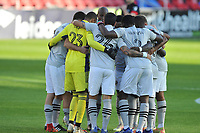 WASHINGTON, DC - NOVEMBER 8: Montreal Impact getting in the huddle during a game between Montreal Impact and D.C. United at Audi Field on November 8, 2020 in Washington, DC.