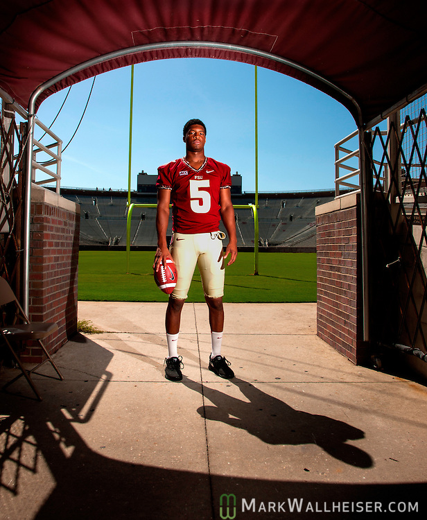 Florida State Seminoles' Heisman tropy quarterback Jameis Winston in the at Doak S. Campbell Stadium in Tallahassee, Florida.