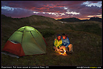 """Experiment! Not everything is done in Photoshop. <br /> Photos like this are pretty easy. The overall scene was lit by a rising full moon, full moon, John and Beth camping, Loveland Pass, Loveland Pass camping trip, night lights, tent, which lasted just a few minutes due to cloud cover. A headlamp lit the tent. Our """"campfire"""" was a candle surrounded by aluminum foil. I used a tripod and a 7 second exposure. Photoshop was only used to lighten certain areas.<br /> John and Beth backpacking at 12"""