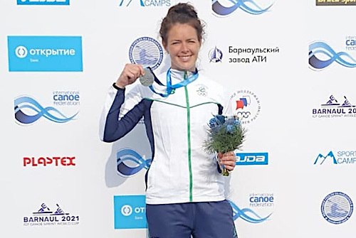 Jenny Egan won a silver medal in the 5000m the Canoe Sprint World Cup in Barnaul, Russia