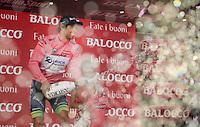 Michael Matthews (AUS/Orica-GreenEDGE) enjoying his champaign on the podium as the new 'maglia rosa'<br /> <br /> 2015 Giro<br /> stage 2: Albenga - Genova (177km)