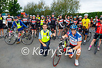 Gda Aidan Mahoney and David Wallace  leading out the Tom Crean Cycle fundraiser for Down Syndrome Kerry from the Ballyseede Garden Centre on Saturday.