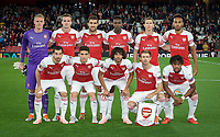 Arsenal pre match team photo (back row l-r) Goalkeeper Bernd Leno, Rob Holding, Sokratis Papastathopoulos, Danny Welbeck, Stephan Lichtsteiner & Pierre-Emerick Aubameyang (front row l-r) Henrikh Mkhitaryan, Lucas Torreira, Mohamed Elneny, Nacho Monreal & Alex Iwobi of Arsenal during the UEFA Europa League match group between Arsenal and Vorskla Poltava at the Emirates Stadium, London, England on 20 September 2018. Photo by Andrew Aleksiejczuk / PRiME Media Images.