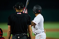 Umpire Kaleb Devier wears an earpiece for the Automatic Ball-Strike System technology during a game between the Palm Beach Cardinals and Jupiter Hammerheads on May 11, 2021 at Roger Dean Chevrolet Stadium in Jupiter, Florida.  (Mike Janes/Four Seam Images)