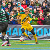 15 November 2015: University of Vermont Catamount Defender Loftur Eriksson, from Saudarkrokur, Iceland, in action against the Binghamton University Bearcats at Virtue Field in Burlington, Vermont. The Catamounts shut out the Bearcats 1-0 in the America East Championship Game. Mandatory Credit: Ed Wolfstein Photo *** RAW (NEF) Image File Available ***