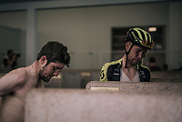 Roger Kluge (DEU/Michelton-Scott) & Luke Durbridge (AUS/Michelton-Scott) up for a post-race (almost) ritual 'cleansing' in the famous Roubaix showers<br /> <br /> 116th Paris-Roubaix (1.UWT)<br /> 1 Day Race. Compiègne - Roubaix (257km)