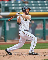 Dustin Ackley (6) of the Salt Lake Bees follows through on his swing against the El Paso Chihuahuas during the Pacific Coast League game at Smith's Ballpark on April 30, 2017 in Salt Lake City, Utah.El Paso defeated Salt Lake 3-0. This was Game 1 of a double-header. (Stephen Smith/Four Seam Images)