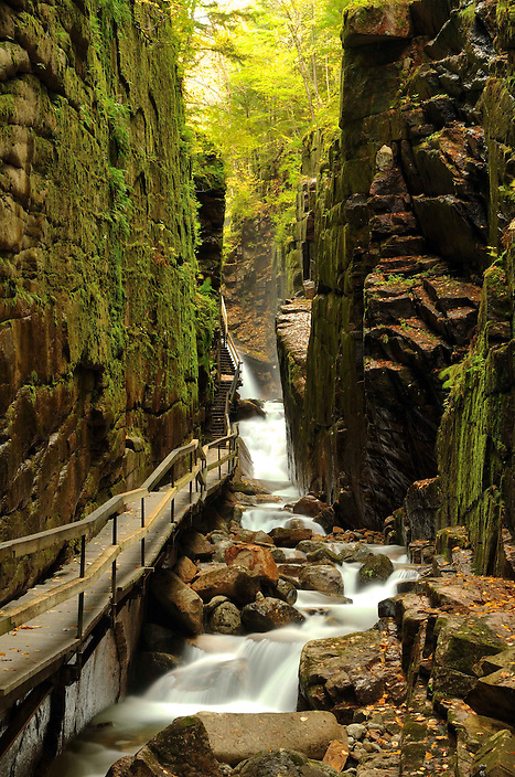 The boardwalk at the Flume Gorge in New Hampshire's Franconia Notch State Park.