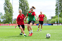 Sophie Ingle (left) of Wales women during the Wales Women Training Session at the Cardiff International Sports Stadium in Cardiff, Wales, UK. Monday 03 June 2019