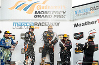 IMSA Continental Tire SportsCar Challenge<br /> Mazda Raceway Laguna Seca 240<br /> Mazda Raceway Laguna Seca<br /> Monterey, CA USA<br /> Saturday 23 September 2017<br /> 26, Mazda, Mazda MX-5, ST, Andrew Carbonell, Liam Dwyer, 75, Audi, Audi S3, ST, Roy Block, Pierre Kleinubing, 44, Nissan, Altima, ST, Sarah Cattaneo, Owen Trinkler, podium, champagne<br /> World Copyright: YOUR NAME HERE<br /> LAT Images