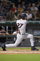 Zack Zehner (27) of the Scranton/Wilkes-Barre RailRiders follows through on his swing against the Charlotte Knights at BB&T BallPark on August 14, 2019 in Charlotte, North Carolina. The Knights defeated the RailRiders 13-12 in ten innings. (Brian Westerholt/Four Seam Images)