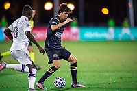 LAKE BUENA VISTA, FL - JULY 20: Brenden Aaronson #22 of the Philadelphia Union dribbles the ball during a game between Orlando City SC and Philadelphia Union at Wide World of Sports on July 20, 2020 in Lake Buena Vista, Florida.