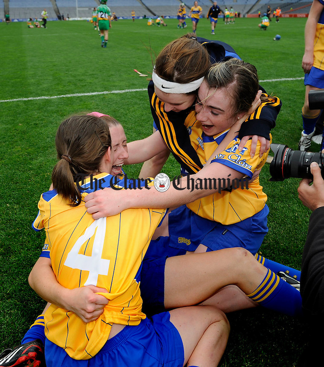 Aimee Mc Inerney and Kate Lynch celebrate their win celebrate their win with other team mates after the final whistle in the All-Ireland junior camogie final at Croke Park. Photograph by John Kelly.