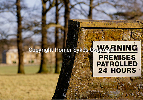 'WARNING THESE PREMISES PATROLLED 24 HOURS' SECURITY NOTICE OUTSIDE ALTHORP HOUSE, 1998