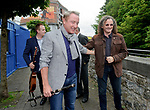 Michael Flatley with Martin Hayes and Ger Fahey, behind, at the official opening of the All-Ireland Fleadh 2017 in Ennis. Photograph by John Kelly.