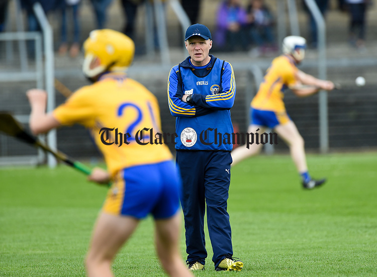 Sean Doyle, Clare manager before their Munster  championship round robin game at Cusack Park Photograph by John Kelly.