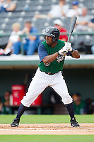 Alejandro De Aza #8 of the Charlotte Knights at bat against the Rochester Red Wings at Knights Stadium August 1, 2010, in Fort Mill, South Carolina.  Photo by Brian Westerholt / Four Seam Images