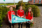 Derryquay NS 6th class students receiving green flag on Monday at the school. L to r: Caragh Houlihan, Ryan Fitzgerald and Erin O'Shea