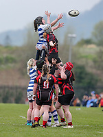 Sunday 7 April 2019 | Carrick W vs Dungannon W<br /> <br /> Lura Saunders and Heather Gamble battle for the ball  during the Rejenerate Cup Final between Carrick and Dungannon at Super Sunday Finals Day at Tom Simms Memorial Park, Carrickfergus RFC, County Antrim, Northern Ireland . Photo by John Dickson / DICKSONDIGITAL
