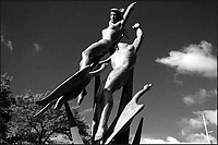 "10/26/04_Flushing Meadow-Corona Park, site of the 1939 & 1964 New York World Fairs. Statues include ""The Rocket Thrower"" by Donald DeLue, and ""The Freedom of the Human Spirit"" by Marshall Fredericks and the Unisphere, the symbol of the 1964-65 World's Fair.  Photo ©Neil Schneider/PHOTOlink"