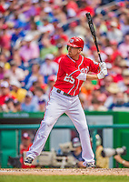 27 July 2013: Washington Nationals first baseman Adam LaRoche in action against the New York Mets at Nationals Park in Washington, DC. The Nationals defeated the Mets 4-1. Mandatory Credit: Ed Wolfstein Photo *** RAW (NEF) Image File Available ***