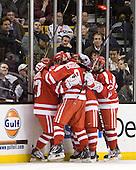 Garrett Noonan (BU - 13), Alex Chiasson (BU - 9), Matt Nieto (BU - 17) - The Boston College Eagles defeated the Boston University Terriers 3-2 (OT) to win the 2012 Beanpot championship on Monday, February 13, 2012, at TD Garden in Boston, Massachusetts.