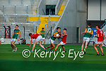 Paul O'Shea Kerry looks to set up an attack after claiming the kick out over Cork's Diarmuid Phelan and Adam Walsh-Murphy during the U20 MFC game in Pairc Uí Caoimh last Thursday evening