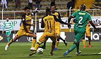 BOGOTÁ - COLOMBIA, 22-07-2019:Andres Murillo  (Der.) jugador de La Equidad  disputa el balón con German Cano (Izq.) jugador del Independiente Medellín durante partido por la fecha 2 de la Liga Águila II 2019 jugado en el estadio Metropolitano de Techo de la ciudad de Bogotá. /Andres Murillo  (R) player of La Equidad fights the ball  against of German Cano(L) player of Independiente Medellín  during the match for the date 2th of the Liga Aguila II 2019 played at the Metropolitano de Techo  stadium in Bogota city. Photo: VizzorImage / Felipe Caicedo / Staff.