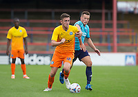 Danny Rowe of Wycombe Wanderers battle forward during the Friendly match between Aldershot Town and Wycombe Wanderers at the EBB Stadium, Aldershot, England on 1 August 2015. Photo by Andy Rowland.