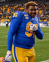 Pitt defensive lineman Tyler Bentley; The Boston College Eagles defeated the Pitt Panthers 26-19 in the football game played at Heinz Field, Pittsburgh Pennsylvania on November 30, 2019.