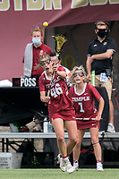 NEWTON, MA - MAY 14: Jen Rodzewich #46 of Temple University passes the ball during NCAA Division I Women's Lacrosse Tournament first round game between University of Massachusetts and Temple University at Newton Campus Lacrosse Field on May 14, 2021 in Newton, Massachusetts.