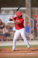 Edwin Delacruz (15) during the WWBA World Championship at the Roger Dean Complex on October 13, 2019 in Jupiter, Florida.  Edwin Delacruz attends Grand Street Campus High School in Ridgewood, NY and is Uncommitted.  (Mike Janes/Four Seam Images)