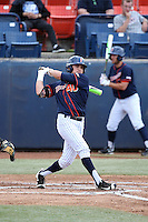 Josh Vargas (40) of the Cal State Fullerton Titans bats against the Wichita State Shockers at Goodwin Field on March 13, 2016 in Fullerton, California. Cal State Fullerton defeated Wichita State, 7-1. (Larry Goren/Four Seam Images)