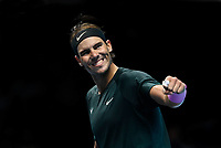 19th November 2020; O2, London;  Rafael Nadal of Spain celebrates a point during the singles group match against StefanTsitsipas of Greece at the ATP, Tennis World Tour Finals 2020 in London