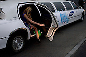 Kiev, Ukraine.May 21, 2005 ..Girls arrive in a corporate limousine at the Eurovision hall in Kiev...