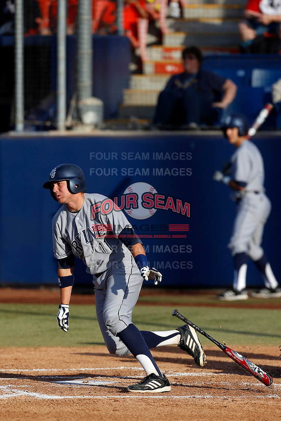 Jerry McClanahan #11 of the UC Irvine Anteaters bats against the Cal State Fullerton Titans at Goodwin Field on May 18, 2013 in Fullerton, California. Fullerton defeated UC Irvine, 3-2. (Larry Goren/Four Seam Images)