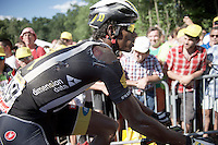 Daniel Teklehaimanot (ERI/MTN-Qhubeka) coming over the finish line with the bruises of the day on display<br /> <br /> stage 3: Antwerpen (BEL) - Huy (BEL)<br /> 2015 Tour de France