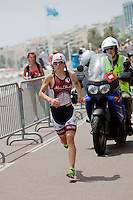 Kristin Moller on the run course of Ironman France 2012, Nice, France, 24 June 2012. Kristin won third place.