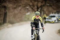 Georgia Williams (NZL/Mitchelton-Scott) during race reconnaissance 1 day prior to the 13th Strade Bianche 2019 (1.UWT)<br /> One day race from Siena to Siena (184km)<br /> <br /> ©kramon