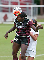 NWA Democrat-Gazette/BEN GOFF @NWABENGOFF<br /> Ariana Holmes of Mississippi State makes a header on Sunday Sept. 20, 2015 during the match at Razorback Field in Fayetteville.