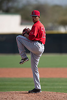 Los Angeles Angels relief pitcher Sadrac Franco (72) during a Minor League Spring Training game against the Colorado Rockies at Tempe Diablo Stadium Complex on March 18, 2018 in Tempe, Arizona. (Zachary Lucy/Four Seam Images)