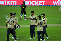 NZ bowler Ish Sodhi celebrates dismissing Aaron Finch during the third international men's T20 cricket match between the New Zealand Black Capss and Australia at Sky Stadium in Wellington, New Zealand on Wednesday, 3 March 2021. Photo: Dave Lintott / lintottphoto.co.nz