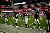 Houston, Texas<br /> October 2, 2011<br /> <br /> Houston Texas players on the sidelines of the stadium's field...The Houston Texans defeat the Pittsburgh Steelers at the Reliant Stadium 17 to 10.