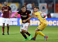 Calcio, Serie A: Frosinone vs Roma. Frosinone, stadio Comunale, 12 settembre 2015.<br /> Roma's Francesco Totti, left, is challenged by Frosinone's Daniel Pavlovic during the Italian Serie A football match between Frosinone and Roma at Frosinone Comunale stadium, 12 September 2015.<br /> UPDATE IMAGES PRESS/Riccardo De Luca