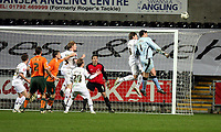 ATTENTION SPORTS PICTURE DESK<br /> Pictured: In a desperate attempt to equalize, Romain Larrieu goalkeeper for Plymouth Argyle (R) moves forward to assist on a Plymouth corner kick, he is challenged by Gorka Pintado of Swansea (2nd R)<br /> Re: Coca Cola Championship, Swansea City FC v Plymouth Argyle at the Liberty Stadium, Swansea, south Wales. 10 March 2009.<br /> Picture by D Legakis Photography / Athena Picture Agency, Swansea 07815441513