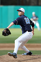 Michael Morin, #28, of the North Carolina Tar Heels pitches against the USC Trojans at Dedeaux Field on February 20, 2011 in Los Angeles,California. Photo by Larry Goren/Four Seam Images