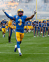Pitt defensive back Damar Hamlin leads his team onto the field. The Miami Hurricanes football team defeated the Pitt Panthers 16-12 in a game at Heinz Field, Pittsburgh, Pennsylvania on October 26, 2019.