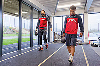 (L-R) Kyle Bartley and Wayne Routledge exercise in the gym during the Swansea City Training at The Fairwood Training Ground, Swansea, Wales, UK. Thursday 04 January 2018